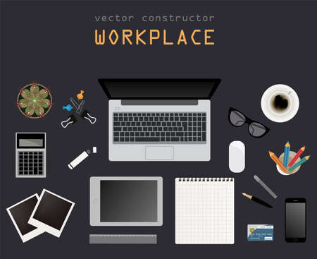 Working place in flat design. Constructor of your own work space. Vector illustration Vector