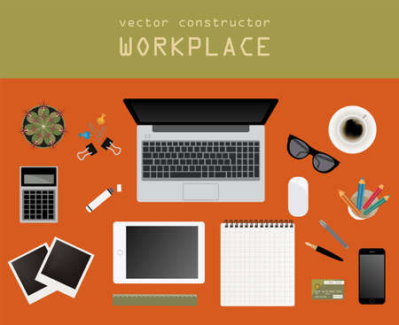 Working place in flat design. Constructor of your own work space. Vector illustration