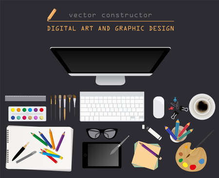 working place: Digital art and graphic design. Working place in flat design. Constructor of your own work space. Vector illustration