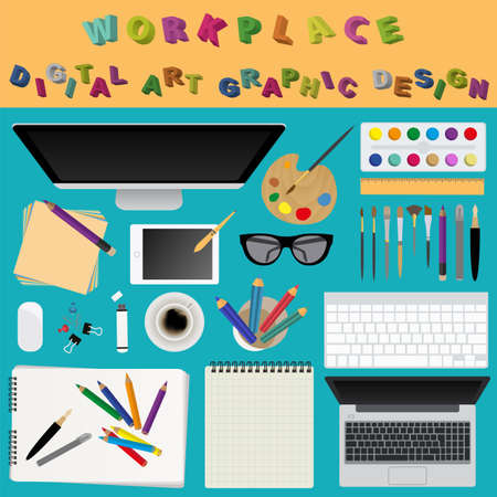 Digital art and graphic design. Working place in flat design. Constructor of your own work space. Vector illustration Vector