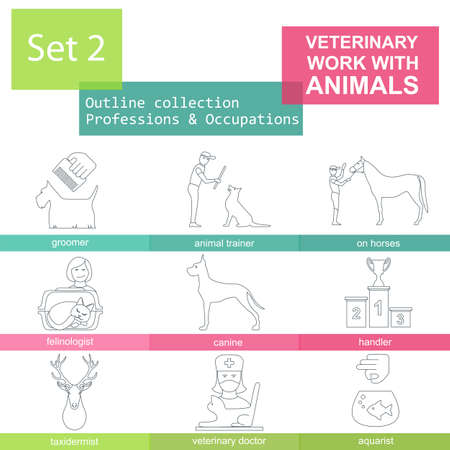 aquarist: Professions and occupations outline icon set. Veterinary, work with animals. Flat linear design. Vector illustration Illustration