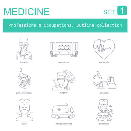 gastroenterologist: Professions and occupations outline icon set. Medical. Flat linear design. Vector illustration
