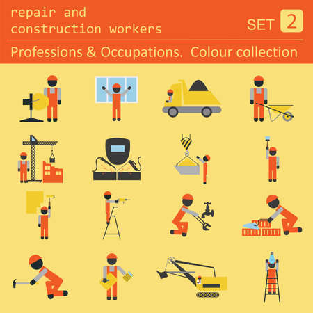face men: Professions and occupations coloured icon set. Repair and construction workers. Flat linear design. Vector illustration Illustration