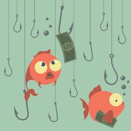 Cartoon vector concept. Fishing. Finances. Business risks. Banks. Credits and deposits.Vector illustration