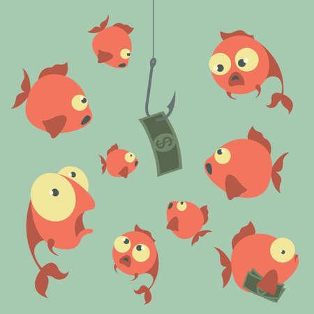 Vecteur Cartoon concept. Pêche. Finances. Les risques d'affaires. Banques. Crédits et deposits.Vector illustration Banque d'images - 38193583