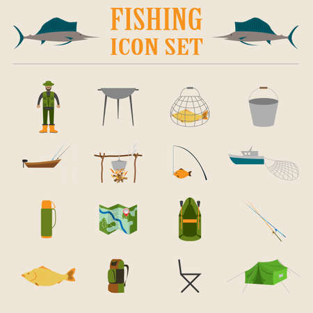 destructive: Fishing equipment icon set. Vector illustration Illustration