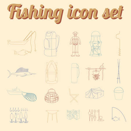 destructive: Fishing equipment icon set. Outline version. Vector illustration Illustration