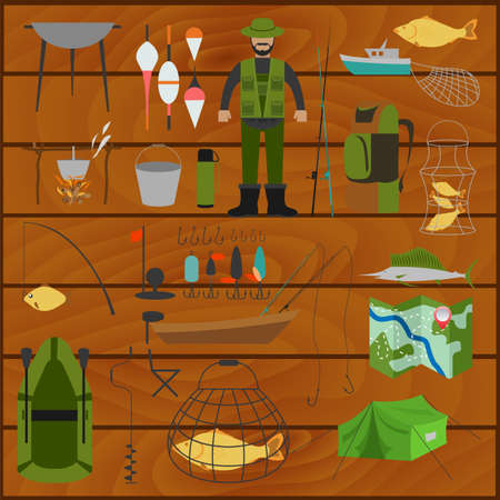 Fishing equipment icon set. Vector illustration Vector