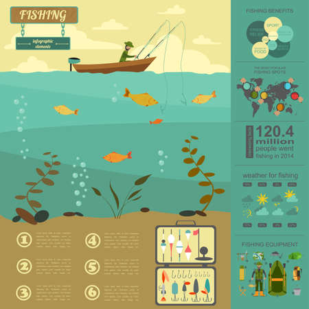 Fishing infographic elements. Set elements for creating your own infographic design. Vector illustration Vector