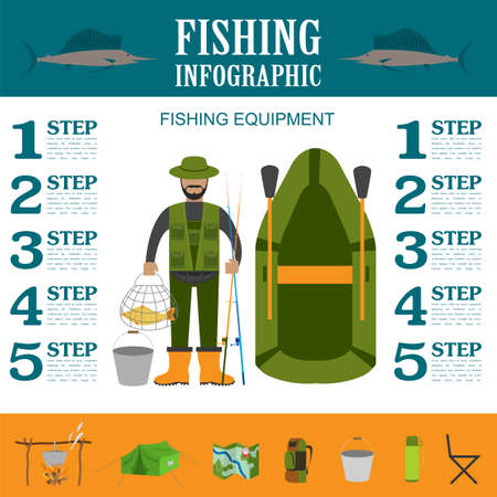 Fishing infographic elements, fishing benefits and destructive fishing. Set elements for creating your own infographic design. Vector illustration Vector