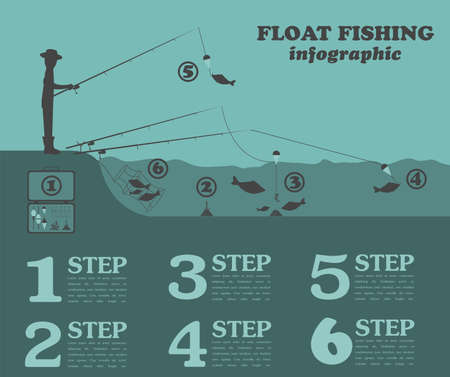Fishing infographic. Float fishing. Set elements for creating your own infographic design. Vector illustration Vector