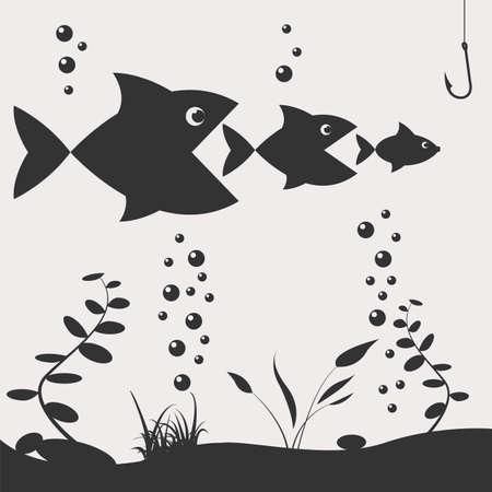 pesca: La pesca en el barco. Elementos de dise�o de pesca. Ilustraci�n vectorial