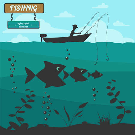 Fishing on the boat. Fishing design elements. Vector illustration Vectores