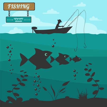 hombre pescando: La pesca en el barco. Elementos de diseño de pesca. Ilustración vectorial