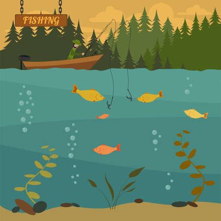 barca da pesca: La pesca sulla barca. Elementi di design di pesca. Illustrazione vettoriale