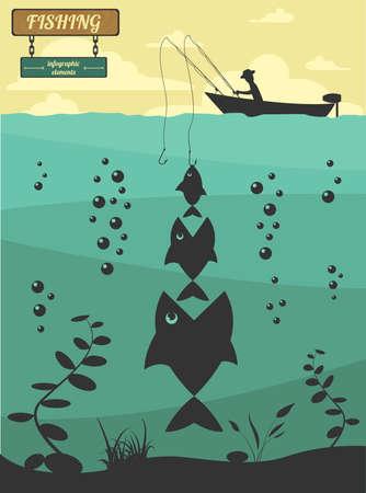 Angeln auf dem Boot. Angeln Design-Elemente. Vektor-Illustration Standard-Bild - 38193734