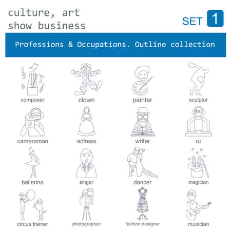 art show: Professions and occupations outline icon set. Culture, art, show business. Flat linear design. Vector illustration Illustration