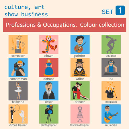 art show: Professions and occupations outline icon set. Culture, art, show business. Coloured version. Vector illustration