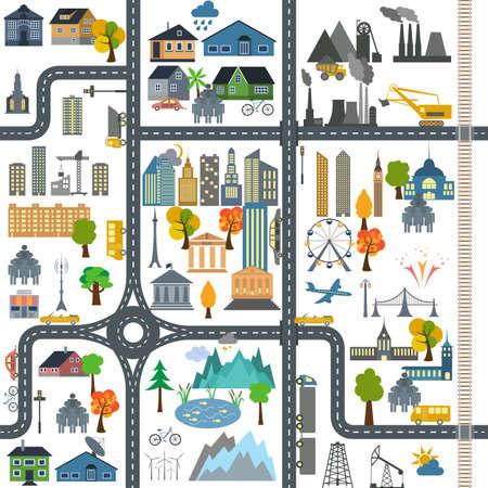 市内マップ ジェネレーター都市マップの例。  イラスト・ベクター素材