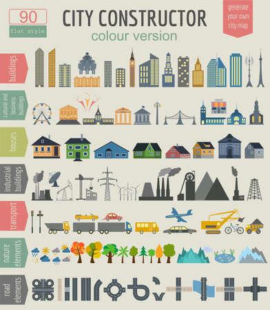 Città Elementi Map Generator per creare la tua città ideale. Vettoriali