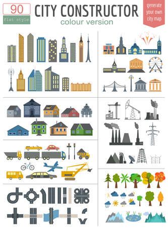 City map generator. Elements for creating your perfect city. Colour version. Vector illustration