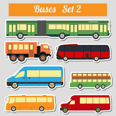 combi: Public transportation, buses. Icon set. Vector illustration Illustration