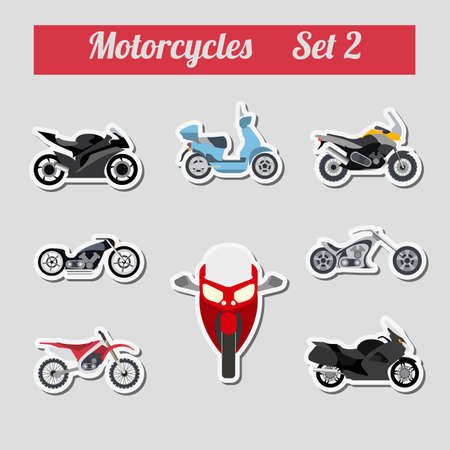 Set of elements motorcycles for creating your own infographics or maps