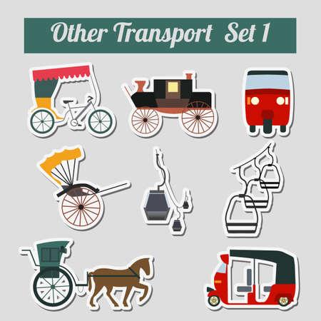 Conjunto de transporte terrestre, carrito, transporte por cable para crear sus propias infografías o mapas. Ilustración vectorial