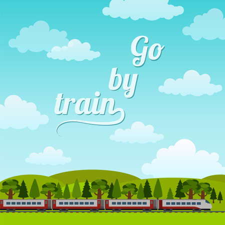 modern train: Railroad and train rides. Poster. Flat style. Vector illustration