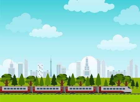 tren caricatura: Ferrocarril y paseos en tren. Cartel. Estilo Flat. Ilustración vectorial