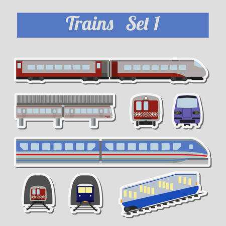 monorail: Train icon set. Subway, monorail, funicular transport. Vector illustration Illustration