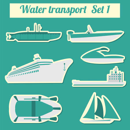 transport icon: Set of water transport icon  for creating your own infographics or maps. Vector illustration Illustration