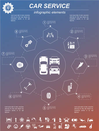 concept car: Car service, repair Infographics. Vector illustration Stock Photo