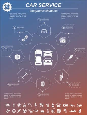 Car service, repair Infographics. Vector illustration Stock Photo