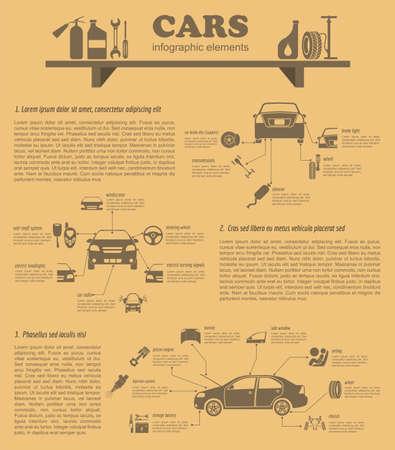 자동차 서비스, 수리 infographics입니다. 벡터 일러스트 레이 션
