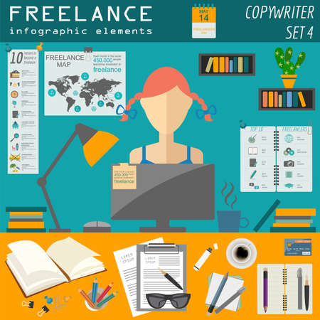 videographer: Freelance infographic template. Set elements for creating you own infographic. Vector illustration