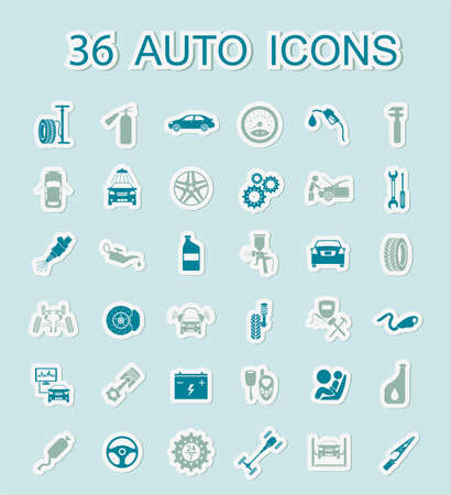 Set of car service icons. Stickers style. Vector illustration Vector Illustration