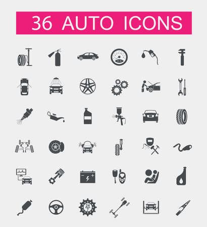 vehicle symbol: Set of car service icons. Vector illustration
