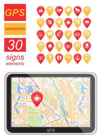 positioning: Global Positioning System, navigation. Infographic template. Vector illustration