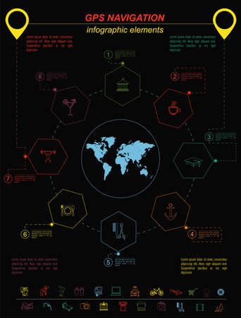 global positioning system: Global Positioning System, navigation. Infographic template. Vector illustration
