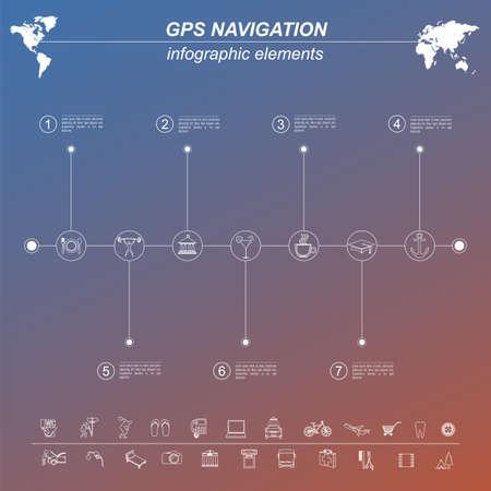 global navigation system: Global Positioning System, navigation. Infographic template. Vector illustration