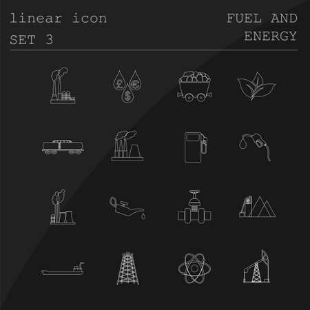 gaseous: Outline icon set Fuel and energyl. Flat linear design. Vector illustration Illustration