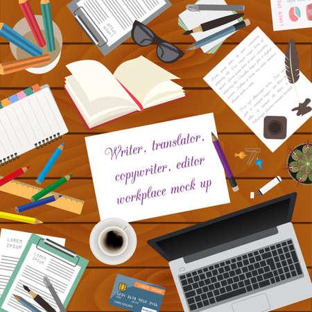 copywriter: Workspace of the writer, translator, copywriter, editor. Mock up for creating your own modern creative office desktop workshop style. Flat design vector mock up. Vector illustration