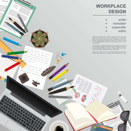 Workspace of the writer, translator, copywriter, editor. Mock up for creating your own modern creative office desktop workshop style. Flat design vector mock up. Vector illustration