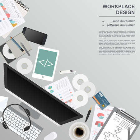 Workspace of the web developer, software developer. Mock up for creating your own modern creative office desktop workshop style. Flat design vector mock up. Vector illustration