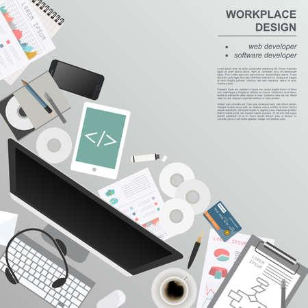 videographer: Workspace of the web developer, software developer. Mock up for creating your own modern creative office desktop workshop style. Flat design vector mock up. Vector illustration