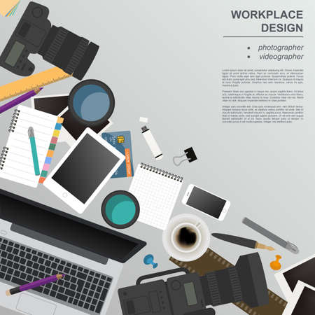 paper graphic: Workspace of the photographer, videographer. Mock up for creating your own modern creative office desktop workshop style. Flat design vector mock up. Vector illustration