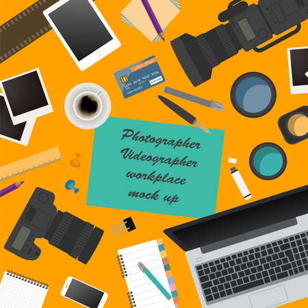 Workspace of the photographer, videographer. Mock up for creating your own modern creative office desktop workshop style. Flat design vector mock up. Vector illustration