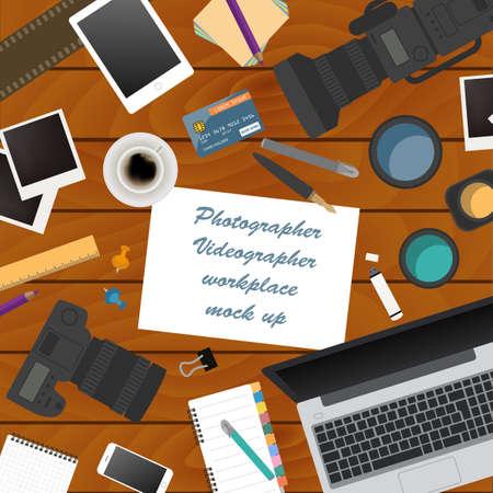 videographer: Workspace of the photographer, videographer. Mock up for creating your own modern creative office desktop workshop style. Flat design vector mock up. Vector illustration