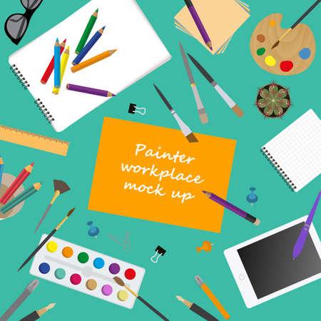 pintor: Espacio de trabajo del pintor, artista. Maqueta para crear su propio estilo creativo moderno taller de escritorio de oficina. Vector Dise�o plano maqueta. Ilustraci�n vectorial